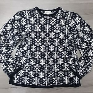 Large Christopher & Banks Snowflake Heavy Sweater